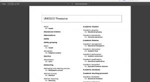 PDF avec liste alphabétique du thesaurus de l'Unesco